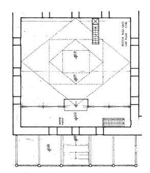 Çizim 2. Rüstem Paşa Camii'nin üst kat planı (Diri, 1995).
